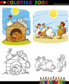 Farm and Companion Animals for Coloring — Stock Vector