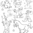 Fantasy Characters for coloring - Stock Vector