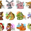 Chinese cartoon zodiac signs — Vettoriali Stock