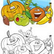 Постер, плакат: Fruits and vegetables for coloring