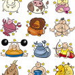 Stock Vector: Overweight cartoon zodiac signs