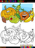 Fruits and vegetables for coloring — Vector de stock