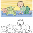 Cartoon cute babies for coloring — 图库矢量图片 #14006973