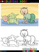 Cartoon cute babies for coloring — 图库矢量图片