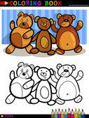 Teddy Bears cartoon for coloring — Stock Vector