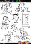 Cartoon cute babies for coloring — Stock Vector