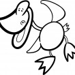 Cartoon funny duck for coloring — Imagen vectorial