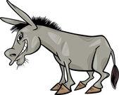 Gray donkey cartoon illustration — Stock Vector