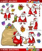 мультфильм набор санта рождественские темы — Cтоковый вектор
