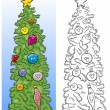 Christmas tree for coloring book — Stock Vector