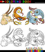 Fantasy animals characters for coloring — Stock Vector
