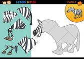 Cartoon zebra puzzle game — Stock Vector