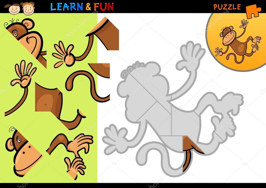 Jeu de puzzle dessin anim singe image vectorielle 14802827 - Puzzle dessin ...