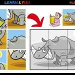 Cartoon rhinoceros puzzle game — Stock Vector #14826993