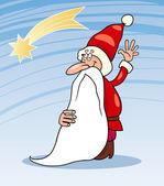 Jultomten jul tecknade illustration — Stockvektor