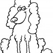 Poodle dog cartoon for coloring book — ベクター素材ストック