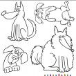Stock Vector: Cartoon Dogs or Puppies for Coloring Book