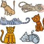 Happy and sleepy cats cartoon set — Stock Vector #15650121