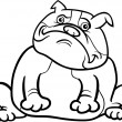 English bulldog dog cartoon for coloring book - Stok Vektör