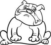 English bulldog dog cartoon for coloring book — Stock Vector