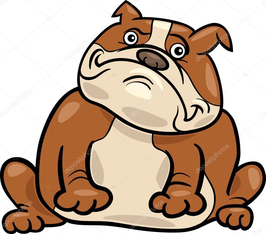 Illustrazione di cartone animato cane bulldog inglese
