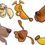 Cartoon happy dogs heads set — Stock Vector
