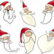Cheerful santa claus cartoon faces icons set — Stock Vector