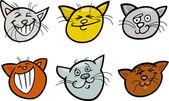 Karikatür komik kediler kafa set — Stok Vektör