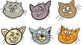 Tecknade roliga katter huvuden set — Stockvektor