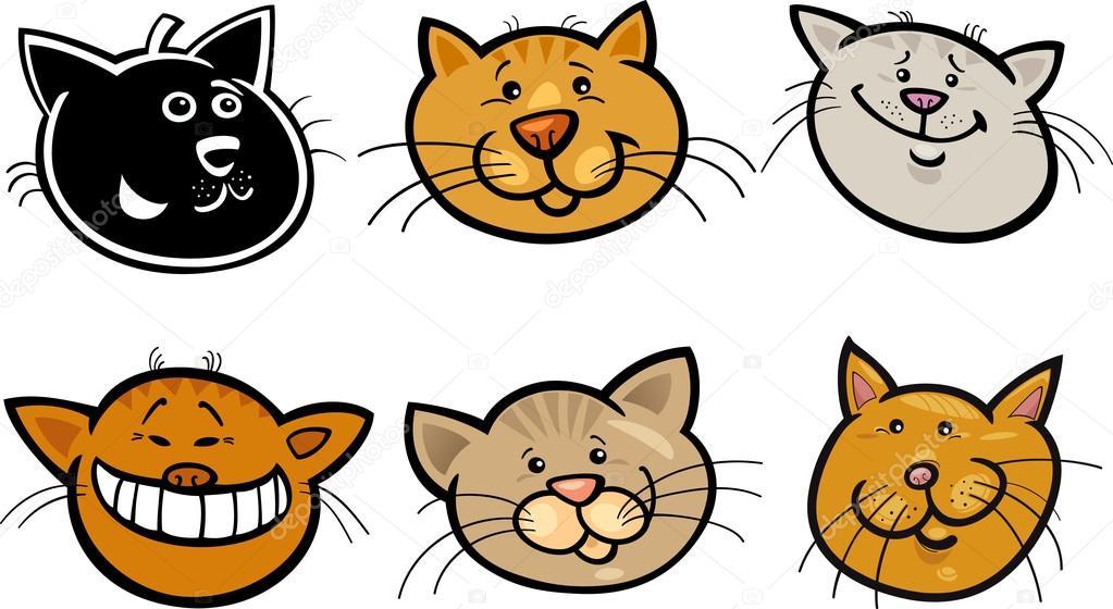卡通滑稽的猫头集 — 图库矢量图像08 izakowski