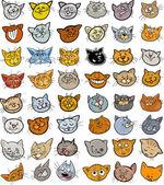 Cartoon funny cats heads big set — Stock Vector