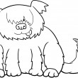 Sheepdog cartoon illustration for coloring — Image vectorielle