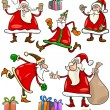 Santa and Christmas Themes Cartoon Set — Stock Vector