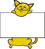 Cartoon cat with board or card — Stock Vector