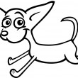 Running chihuahua cartoon for coloring - Stok Vektr