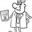 doctor with xray black and white cartoon — Stock Vector