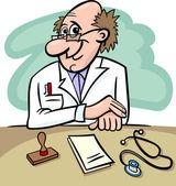 Doctor in clinic cartoon illustration — Stock Vector