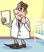 Cartoon afbeelding van arts in het ziekenhuis — Stockvector