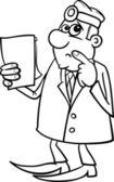 σκέψη γιατρός μαύρο και άσπρο κινουμένων σχεδίων — Διανυσματικό Αρχείο
