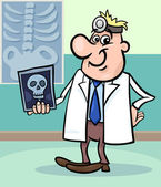 Cartoon doctor illustration with xray — Stock vektor