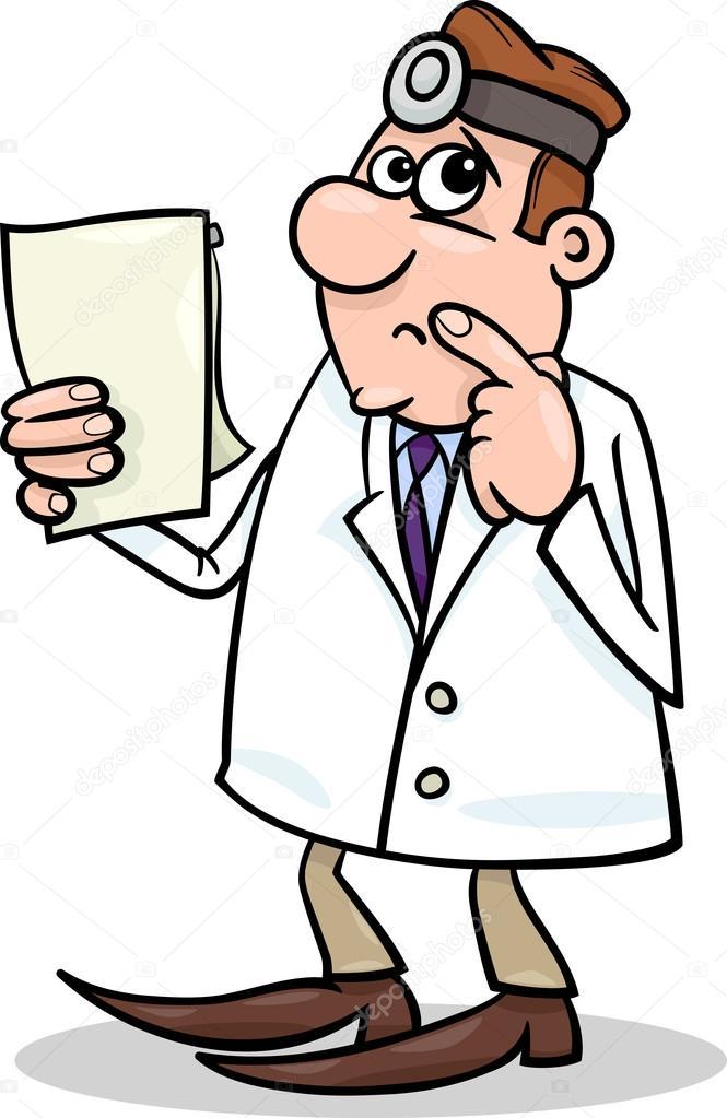 Cartoon concerned doctor illustration — stock vector