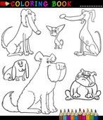 Cartoon Dogs or Puppies for Coloring Book — Stock Vector