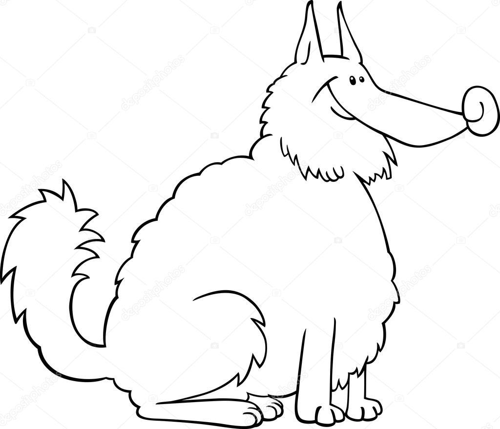 Illustrazione di cartone animato cane spitz — vettoriali