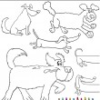 Cartoon Dogs or Puppies Coloring Page — Stock Vector