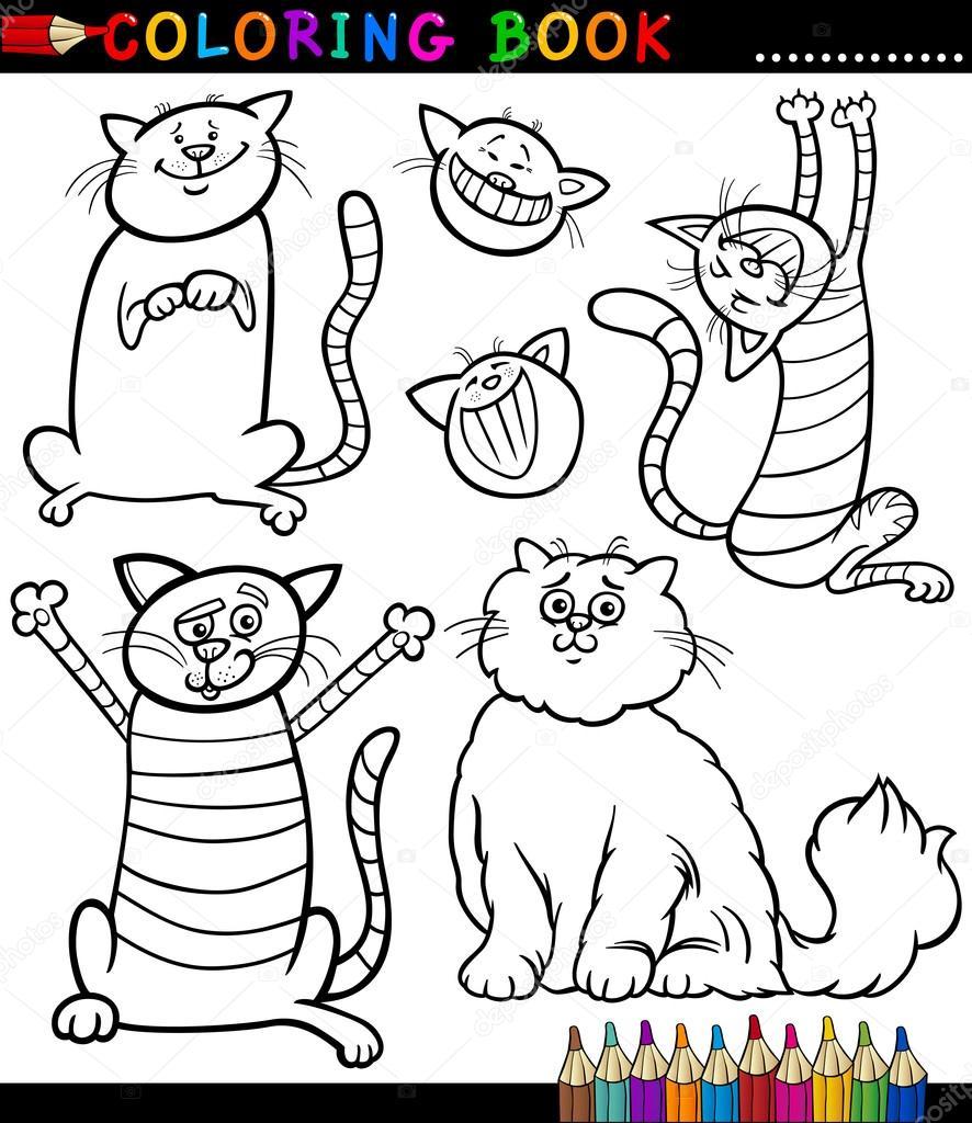 Libro para colorear o colorear ilustración blanco y negro de dibujos animados página de gatos graciosos o gatitos\u2014 Vector de izakowski