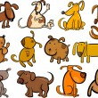 Stock Vector: Cartoon dogs or puppies big set