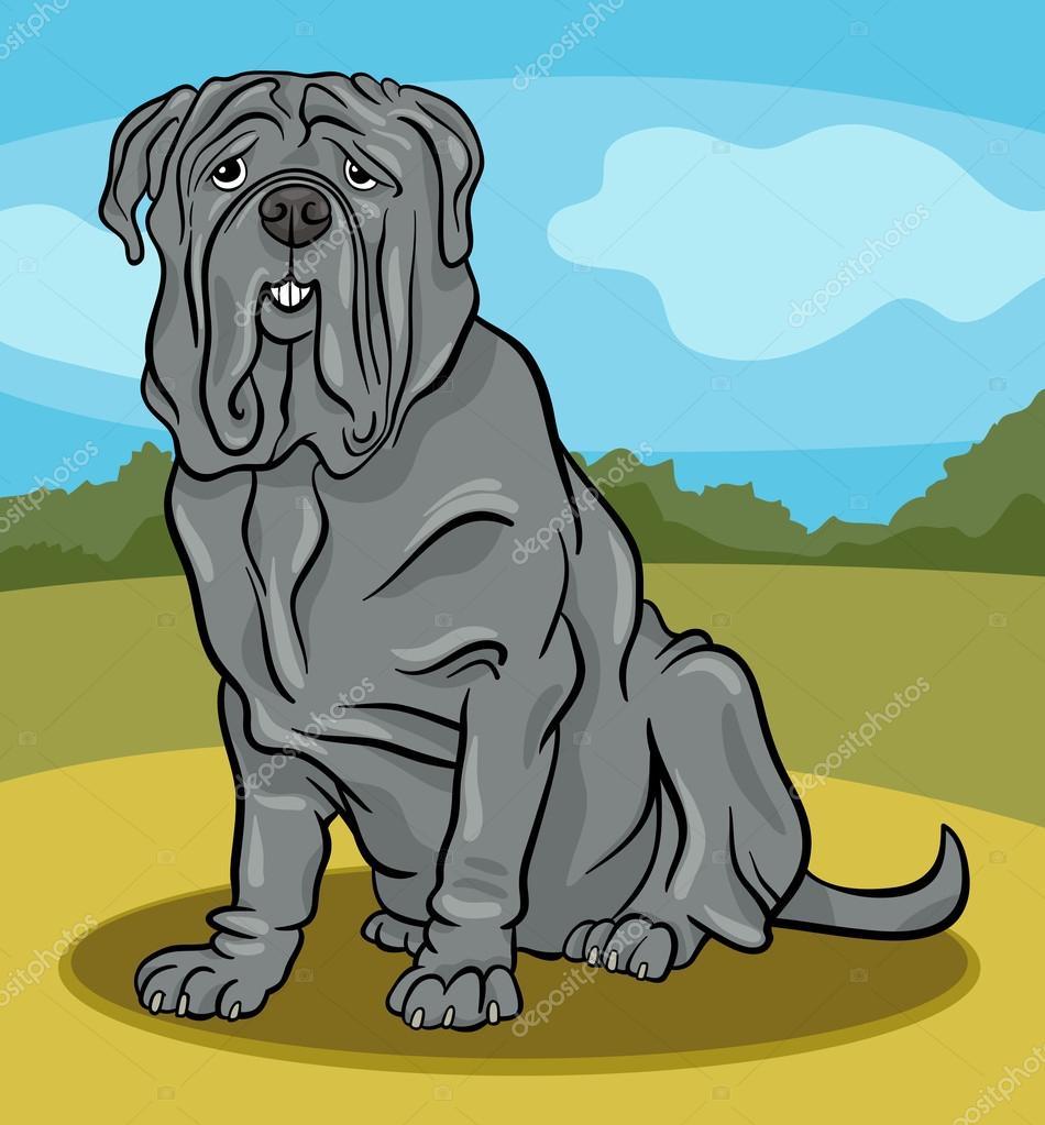 Illustrazione di cartone animato cane mastino napoletano