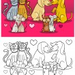 Animals in love cartoon for coloring book — Stockvektor
