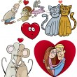 Valentine cartoon illustration love set — Imagen vectorial