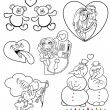 Valentinstag Cartoon Themes zum Ausmalen — Stockvektor